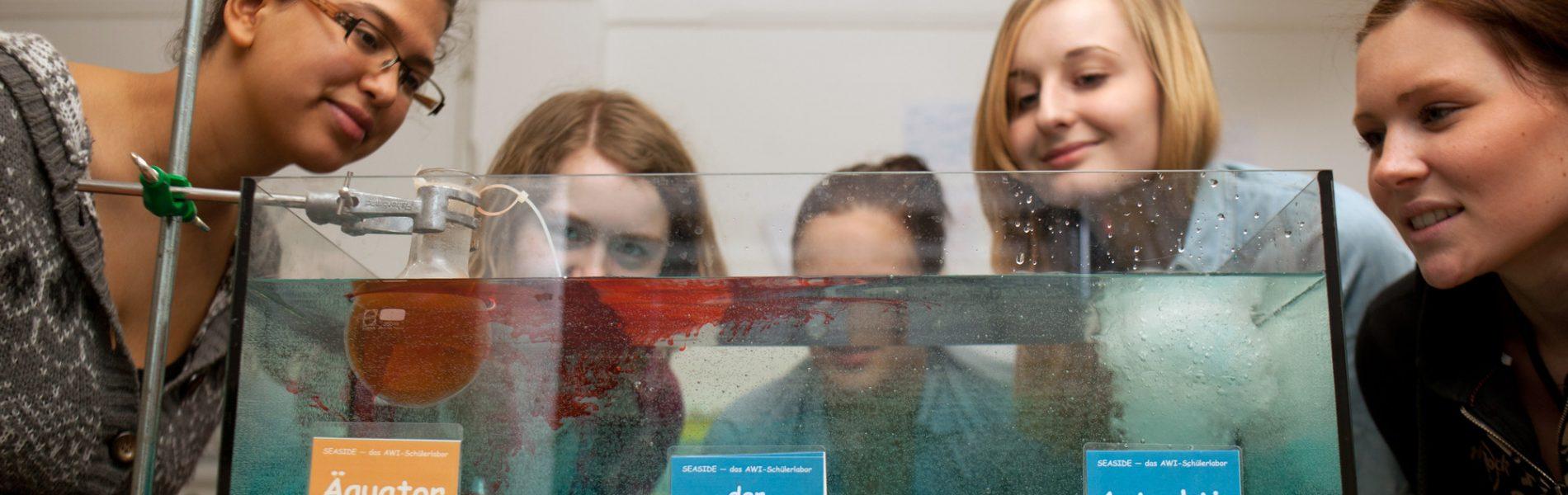 Fünf Personen stehen vor einem Behältnis mit Wasser, das das Wasser am Äquator, der Weltozeane und der Antarktis zeigt.