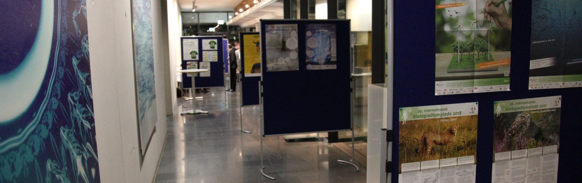 Das Bild zeigt einen Gang mit einigen Informationstafeln. Im Vordergrund hängen Plakate der Biologo-Olympiade und des Bundesumweltwettbewerbs.