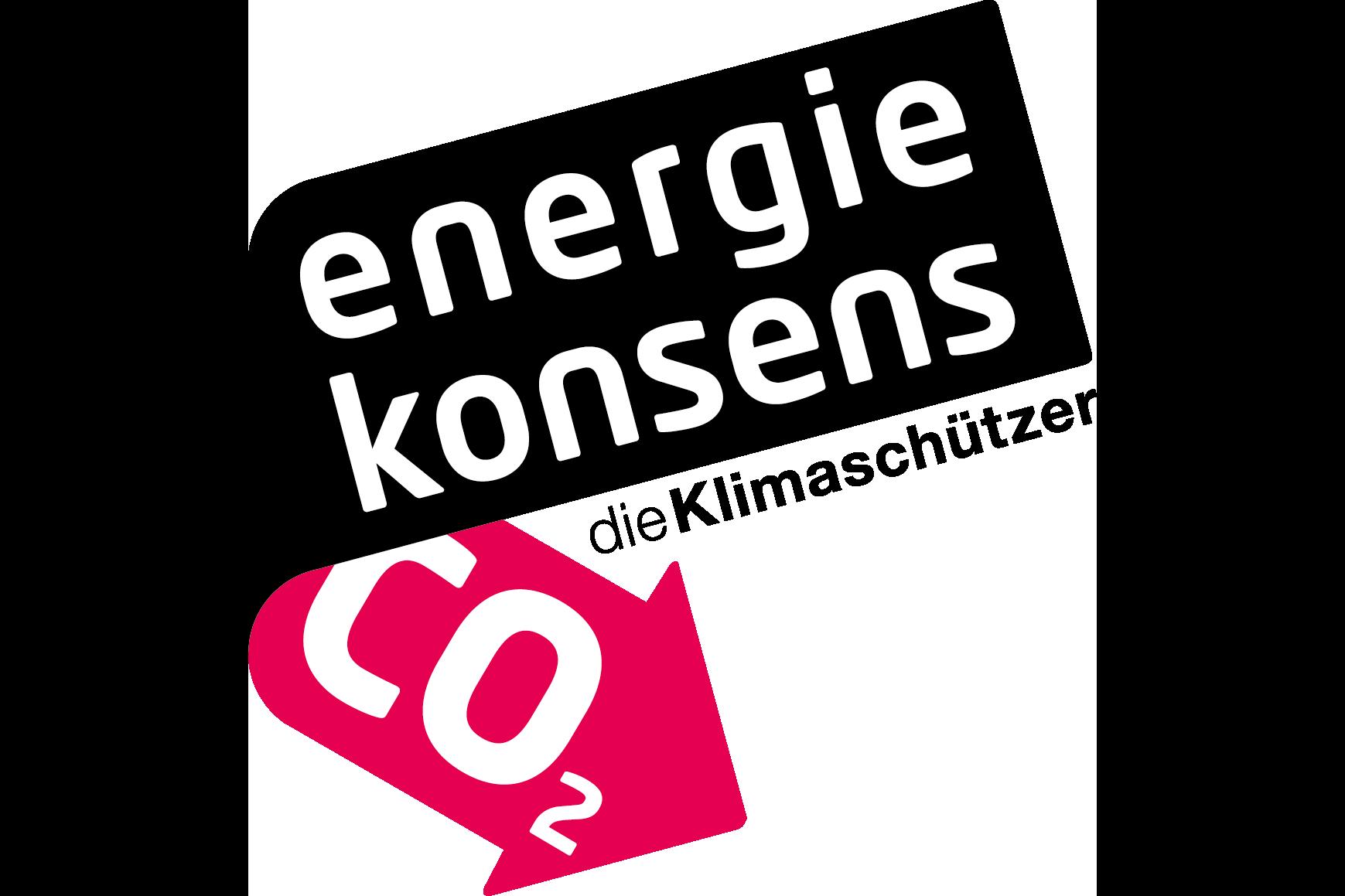 Auf dem Bild ist das Logo von energiekonsens, die Klimaschützer zu sehen.