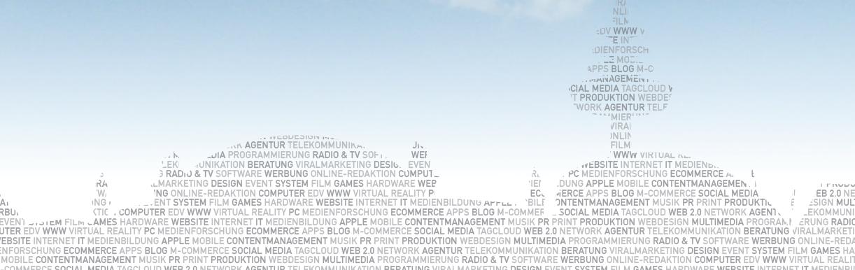 """Dieses Bild zeigt die Bremer Skyline, gebildet aus Wörtern, die digitale Medien beschreiben. So kommen zum Beispiel Wörter wie """"Social Media"""", """"Multimedia"""" oder """"Computer"""" darin vor."""