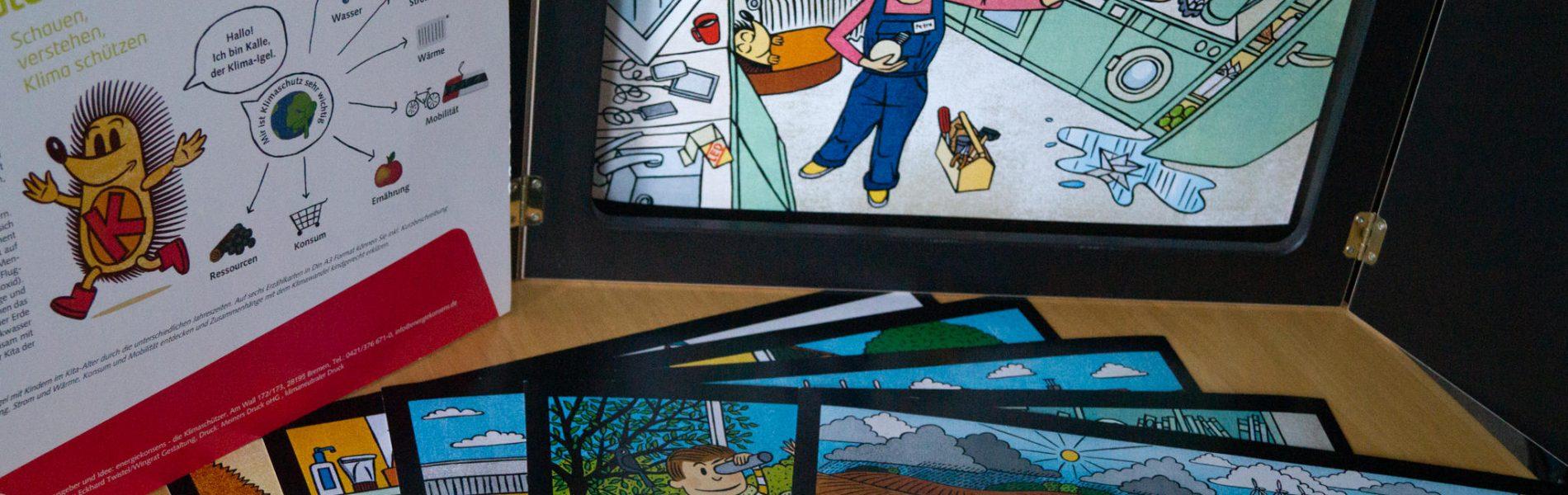 """Auf dem Bild sieht man ein paar Standbilder des Erzähltheaters """"Kalle, der Klimaigel"""". Im Fokus steht ein Mädchen, das eine Glühbirne wechselt."""