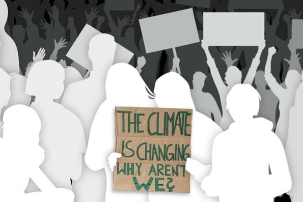 Sillhouetten von Menschen und einem Schild mit der Aufschrift: The climate is changing why arent we